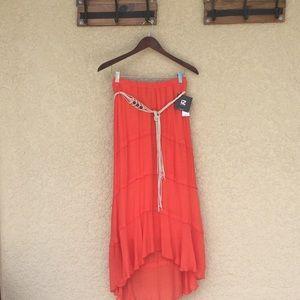 Gauze Maxi Skirt with Belt
